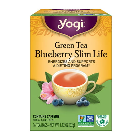 (6 Boxes) Yogi Tea, Green Tea Blueberry Slim Life Tea, Tea Bags, 16 Ct, 1.12 OZ