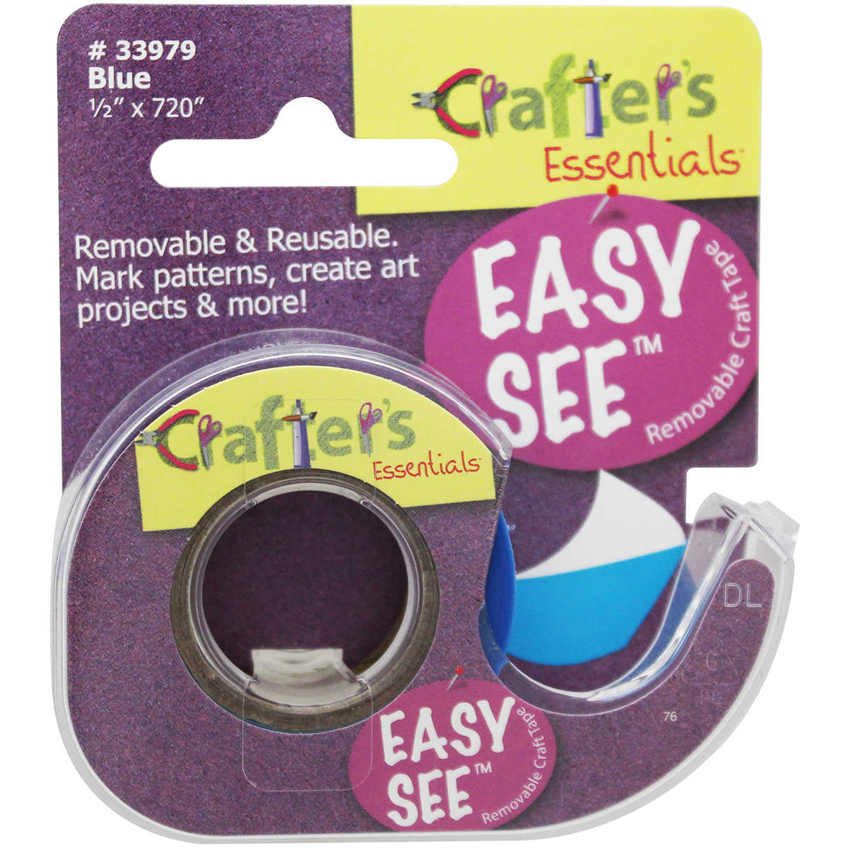 "Crafter's Easy See Removable Craft Tape .5""X720""-Blue"
