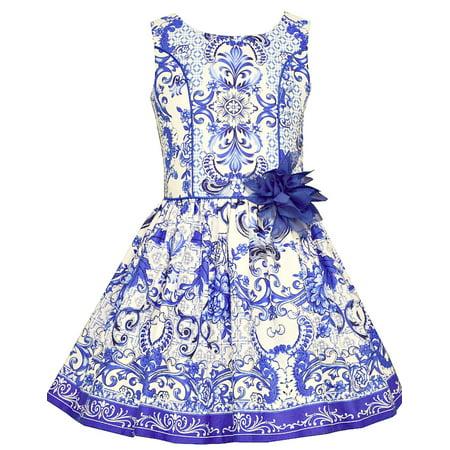 - Bonnie Jean Big Girls Porcelain Tile Print Sundress 10