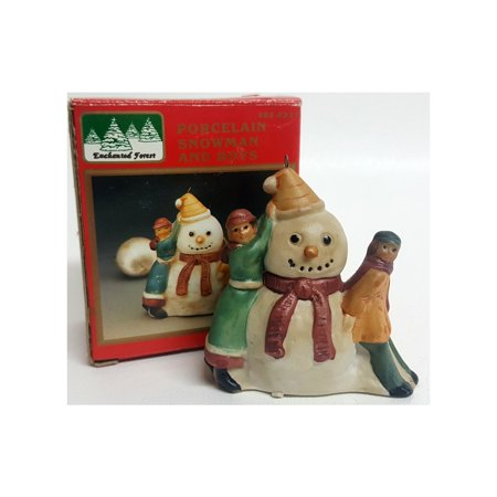 Enchanted Forest Porcelain Snowman And Boys Figurine Ornament