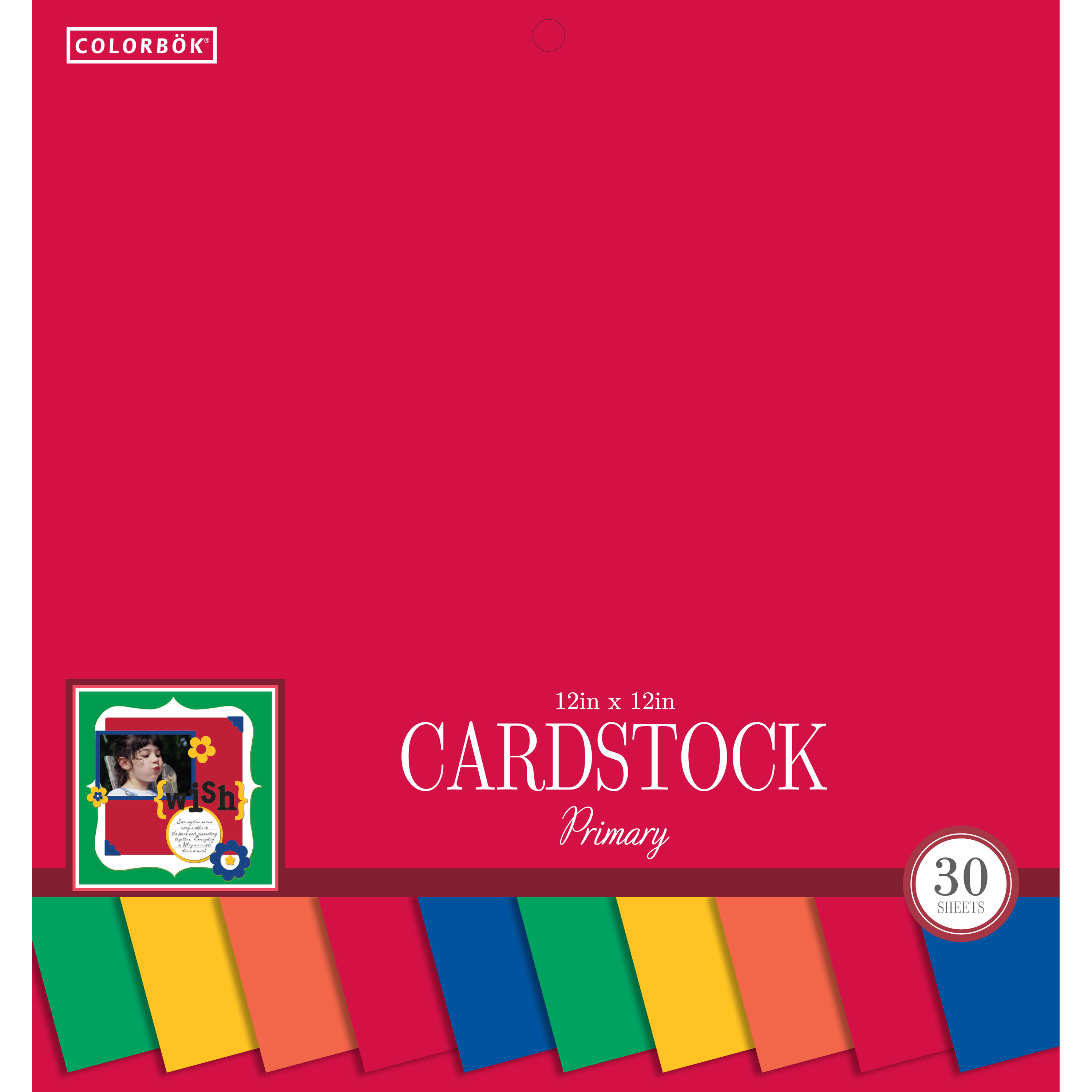 "Colorbok 12"" Smith Cardstock Pad, Primary"
