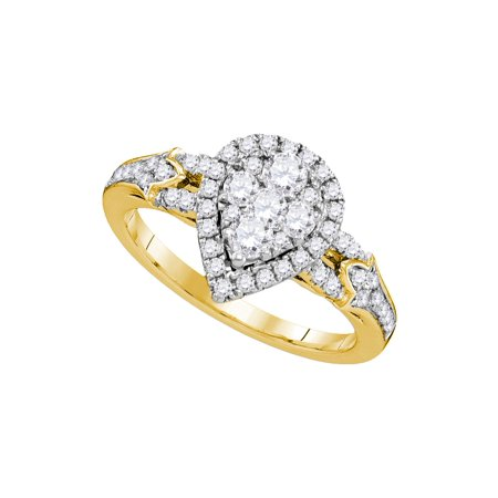7845398e5c57 Size - 7 - Solid 14k Yellow Gold Round White Diamond Engagement Ring OR  Fashion Band