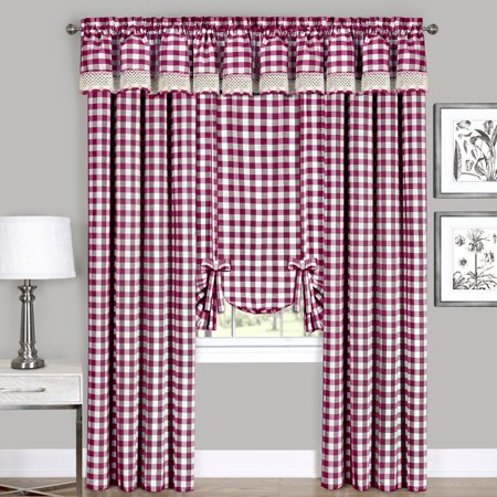 Assorted Checkered Plaid Gingham Kitchen Window Curtain Tier & Valance](Yellow Gingham)