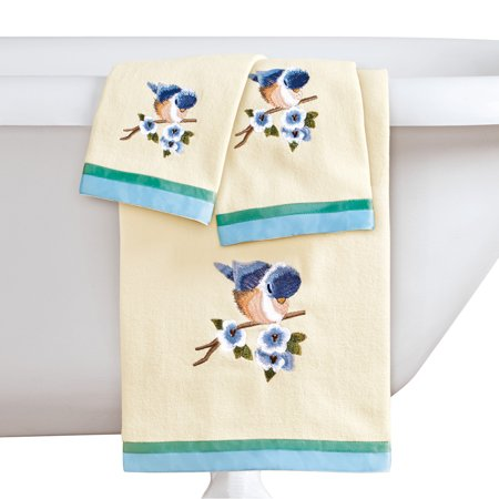 Bird Embroidered Towels with Ribbon Trim - Set of 3, Includes Bath Towel, Hand Towel, and
