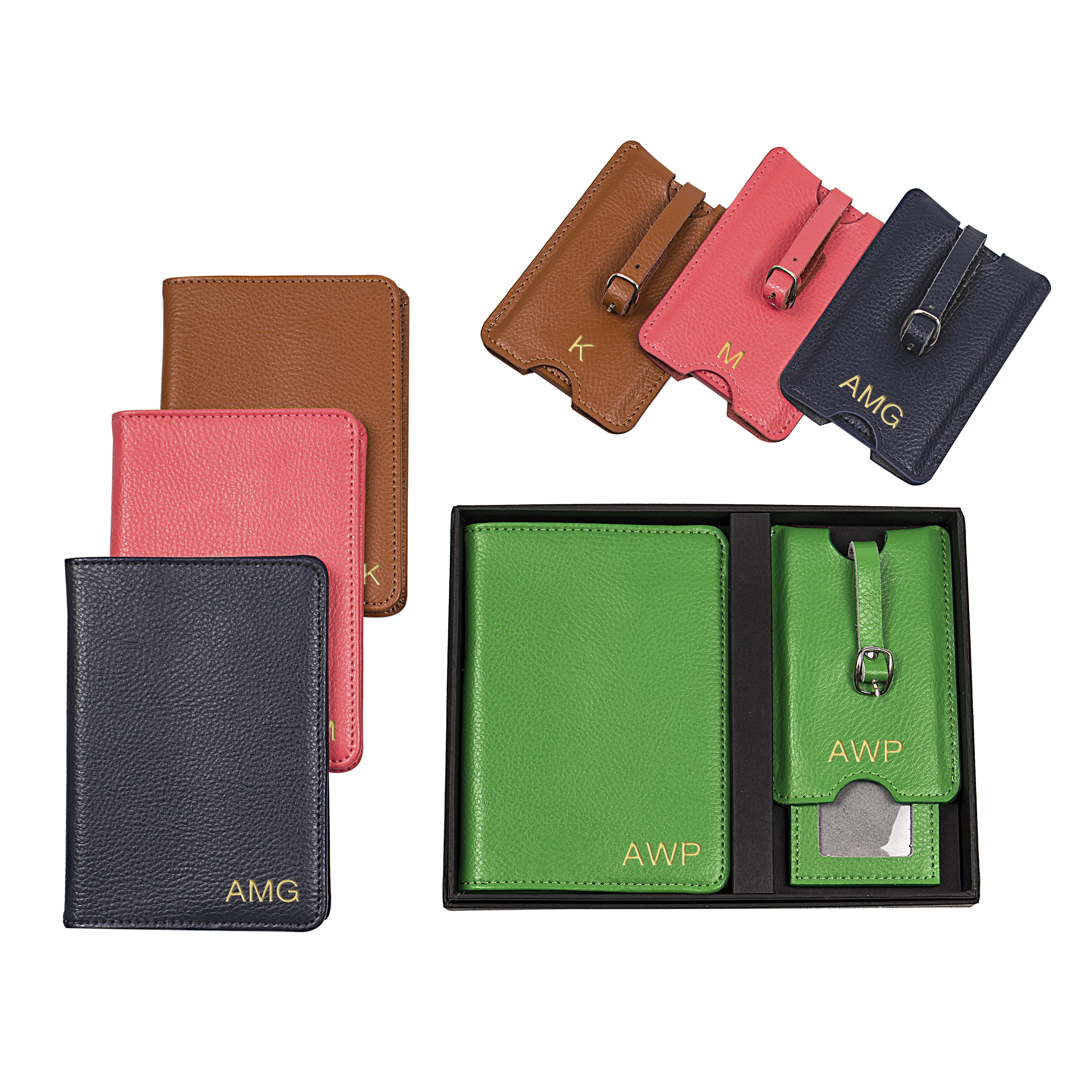 Personalized Leather Passport Holder & Luggage Tag Set