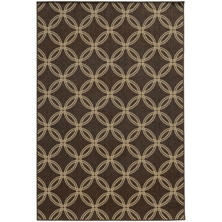 (Tommy Bahama Seaside Area Rugs - 3360D Contemporary Brown Rings Layered Hoops Loops Rug)