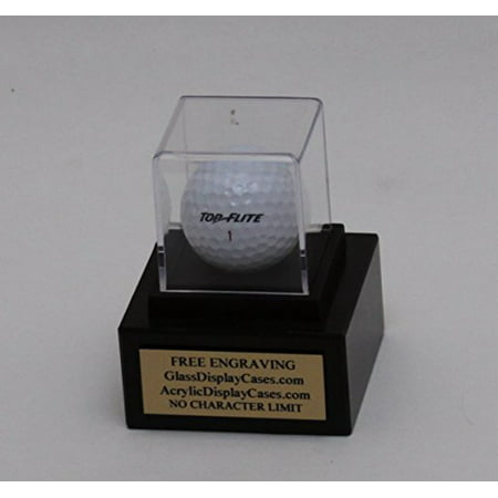 Golf Ball Hole in One - Eagle - Best Round - Game Personalized Acrylic Display Case - Genuine Black Marble Base - Free