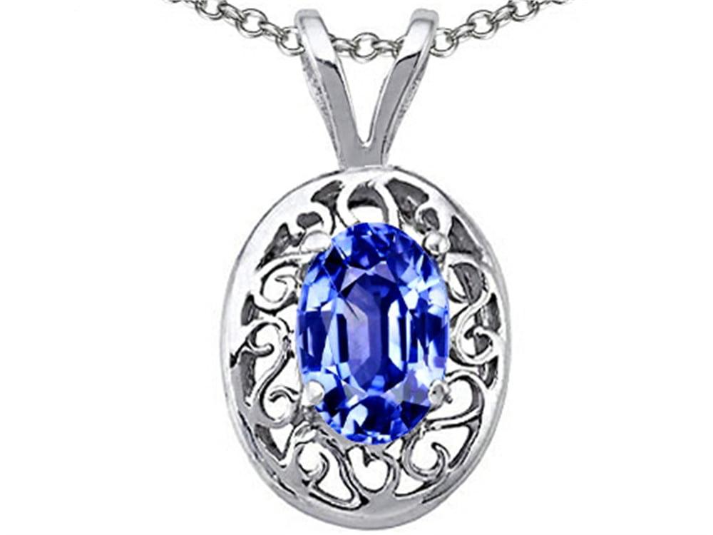 Tommaso Design Oval Genuine Tanzanite Pendant Necklace in 14 kt White Gold by