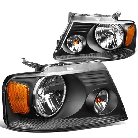 For 2004 to 2008 Ford F150 11th Gen Black Housing Amber Corner Headlight Headlamp 05 06 07 Left+Right