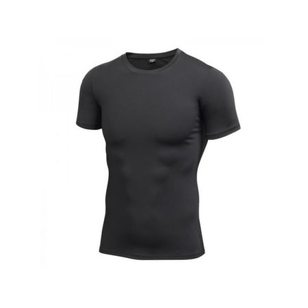 Men's Compression T-shirt Round collar Quick-drying Elastic Top (Collar Knit Top Men)