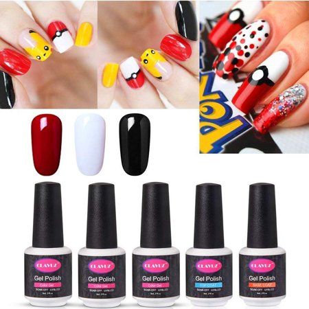 CLAVUZ Gel Nail Polish Top Coat Base Coat Set Black White Red Color Gel Nail Soak Off UV LED Nail Art Starter Kit Nail Art at Home Halloween Gift Kit 8ML Long Lasting Varnish
