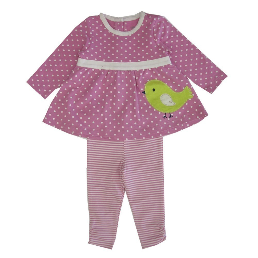 Little Me Baby Girls Pink Green Chick Applique Stripe Leggings Set 24M