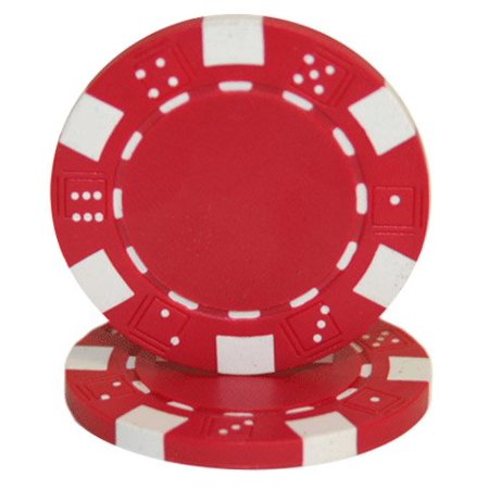 25 ClayWalmartposite Dice Striped 11.5 gram Poker Chips, Red, Red Chips By Las Vegas Poker