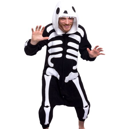 SILVER LILLY Unisex Adult Plush Animal Cosplay Costume Pajamas (Skeleton)