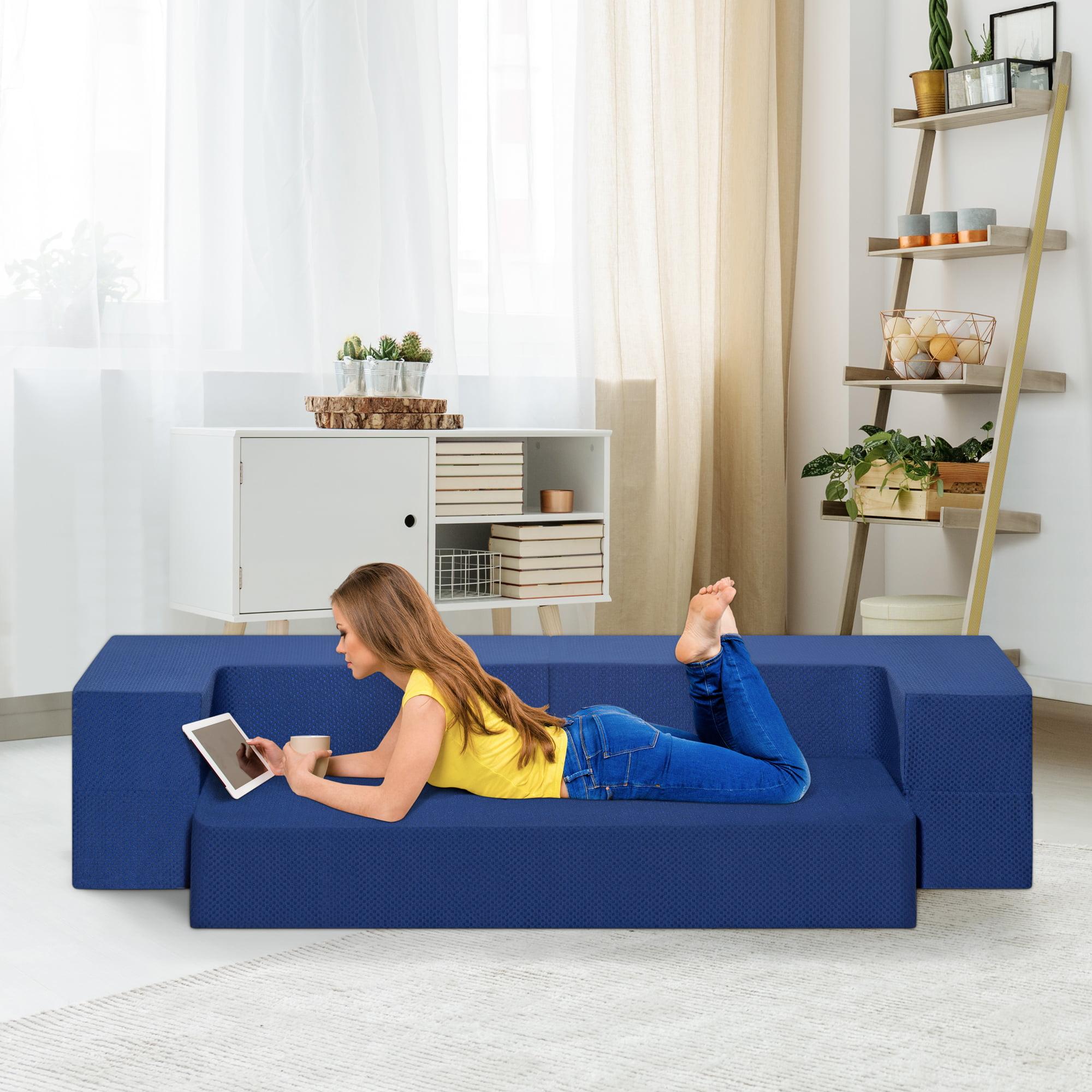 GranRest 8'' 3-in-1 Gel Memory Foam Mattress & Sofa Bed, Dark Blue