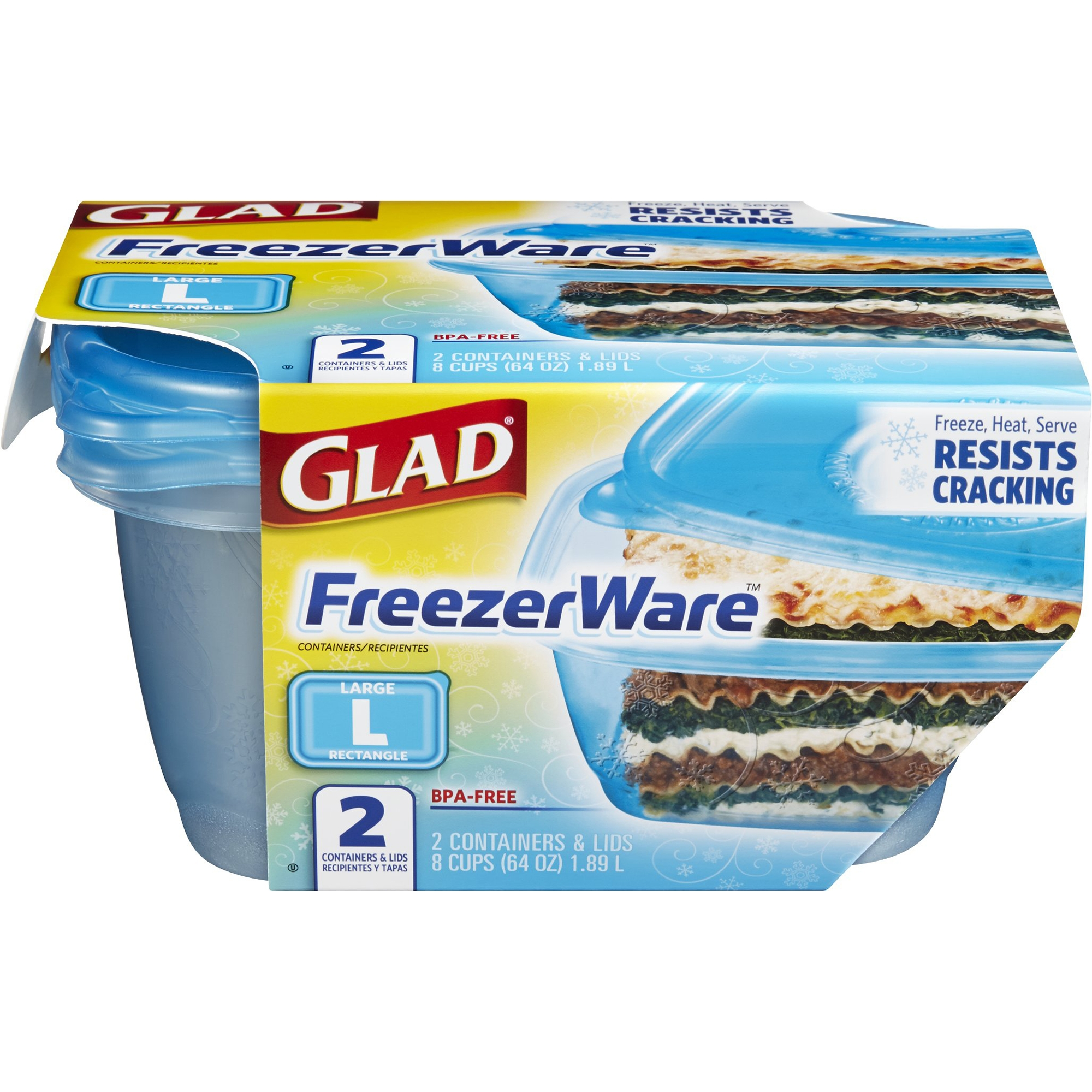 Glad Food Storage Containers - Glad FreezeWare Contatiners - Large - 64 oz - 2 ct