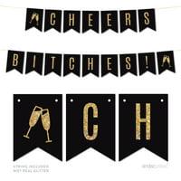 Gold Glitter Cheers Bi***es! Wedding Bachelorette Pennant Party Banner