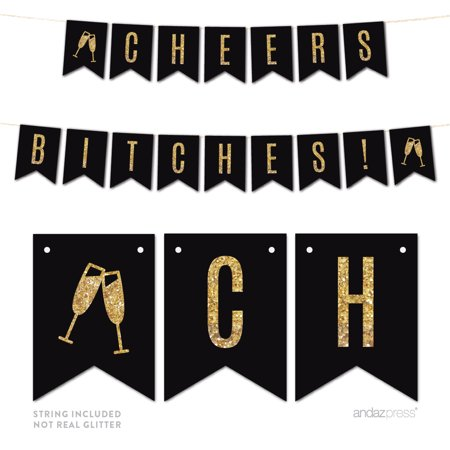 Gold Glitter Cheers Bi***es! Wedding Bachelorette Pennant Party Banner - Cheers Banner