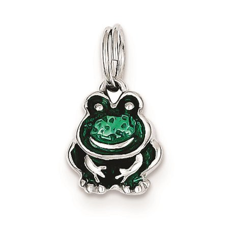 - 925 Sterling Silver Green Enameled Frog Solid Charm Pendant 15mmx9mm