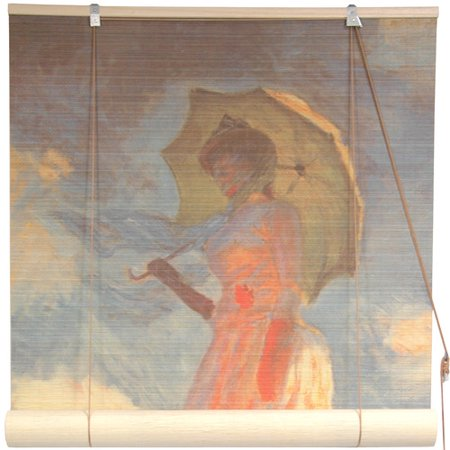 Oriental Furniture Girl with a Parasol Bamboo Roller Blind