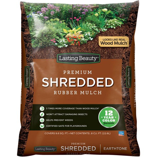 Lasting Beauty Premium Shredded Rubber Mulch Earthtone Walmart Com Walmart Com