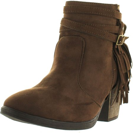 Demeanor Women's Fringe Buckle Strap Accent Chunky Heel Ankle Booties