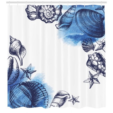Ocean Shower Curtain Sealife Sea Shells And Sand Stones