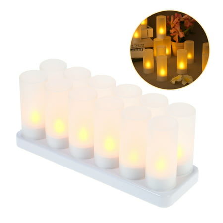 12pcs/set Rechargeable LED Flickering Flameless Candles Tealight Candles Lights with Frosted Cups Charging Base Yellow Light - Flameless Flickering Tea Lights