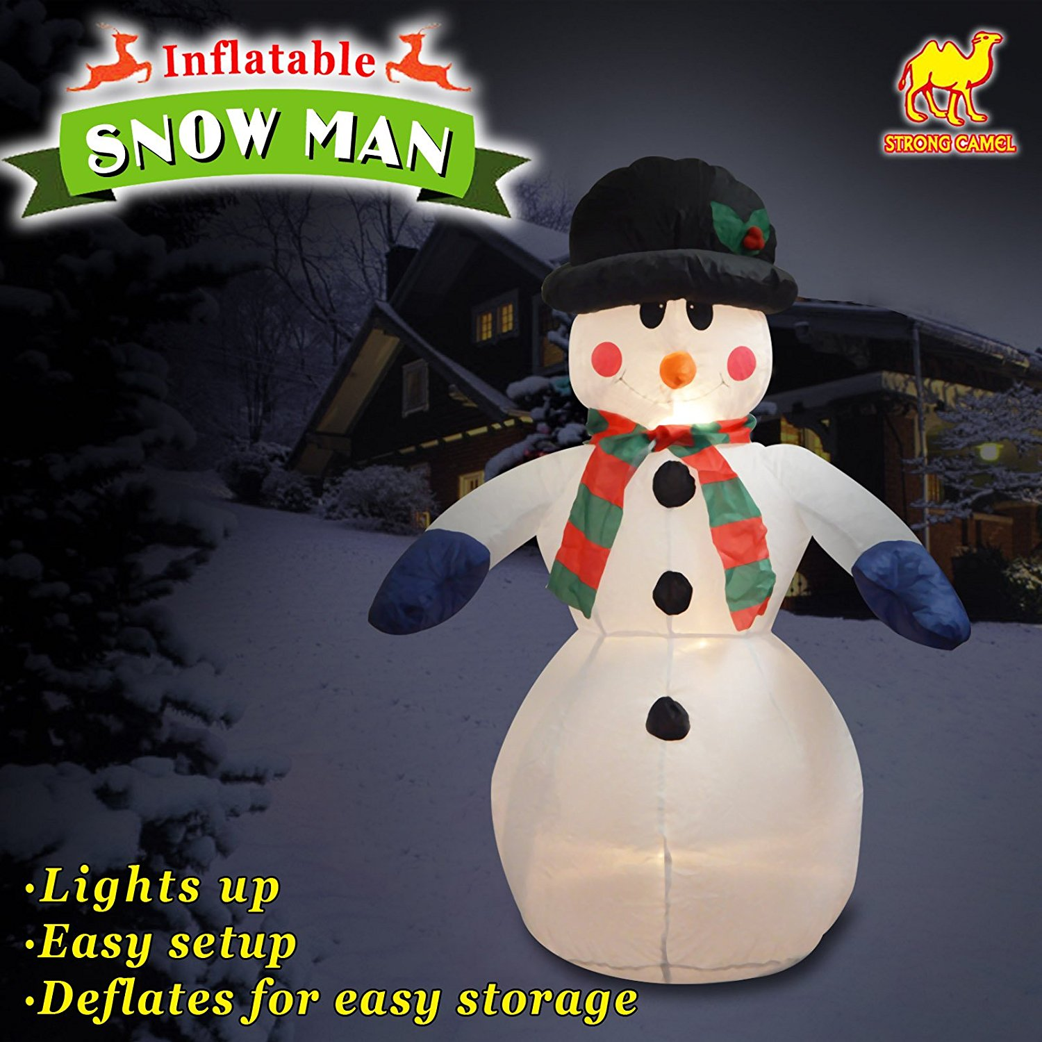 Sunny Outdoor Inc Strong Camel New 4 Foot Christmas Inflatable Snowman Yard Garden Decoration