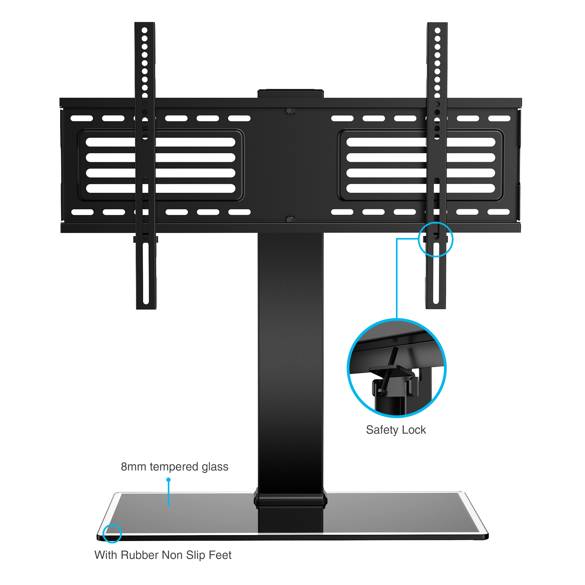 fitueyes universal tv stand base with swivel mount for