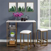 Dorel Living Tanner 3-Piece Brass Pub Set with Faux Marble Top, White by Dorel Living