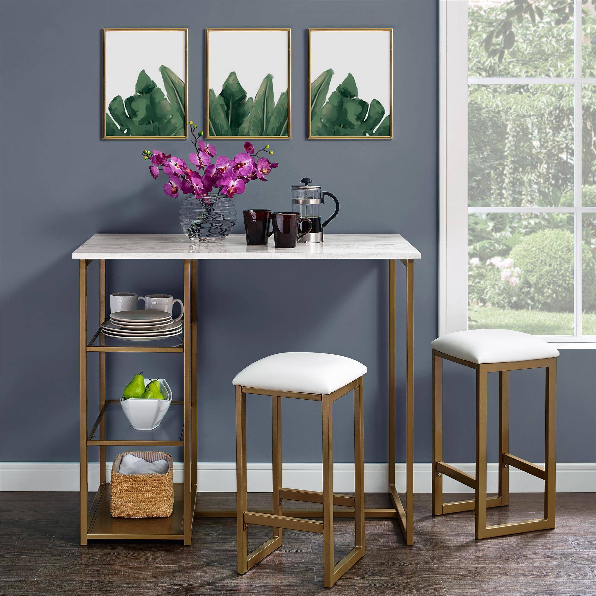 Dorel Living Tanner 3 Piece Brass Pub Set With Faux Marblu2026