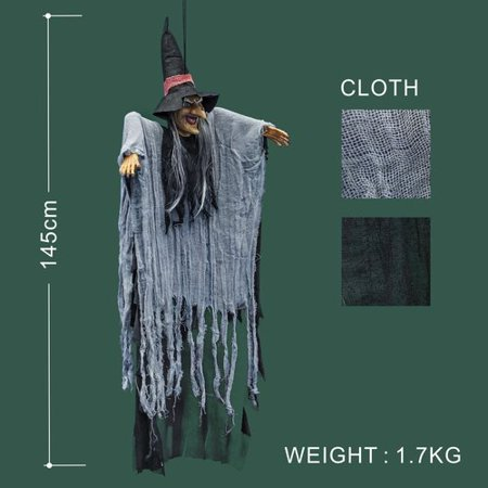 The Holiday Aisle New Hanging Talking Witch Figure Ghost Prop Halloween Bar Party Decoration