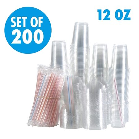 - Set of 200 Clear Plastic Cups with Dome Lids, Smoothie Wide Large Straw, Cold Smoothie Iced Coffee Cup with Lids, 12 oz 16oz largest 24oz, Great for Cocktail, Juice, Teas, Clear Frozen Drink Beverage