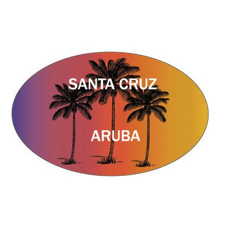Santa Cruz Aruba Souvenir Palm Trees Surfing Trendy Oval Decal