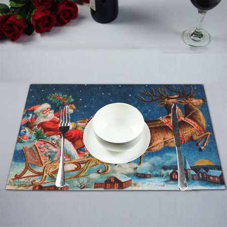 MYPOP Merry Christmas Santa Kitchen Table Mat Placemats for Dining Table 12x18 inches ()