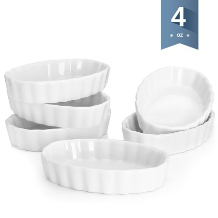 5101 Porcelain Ramekins Oval Shape - 4 Ounce for Creme Brulee - Set of 6, 4.7 x 3.2 x 1 Inch, White