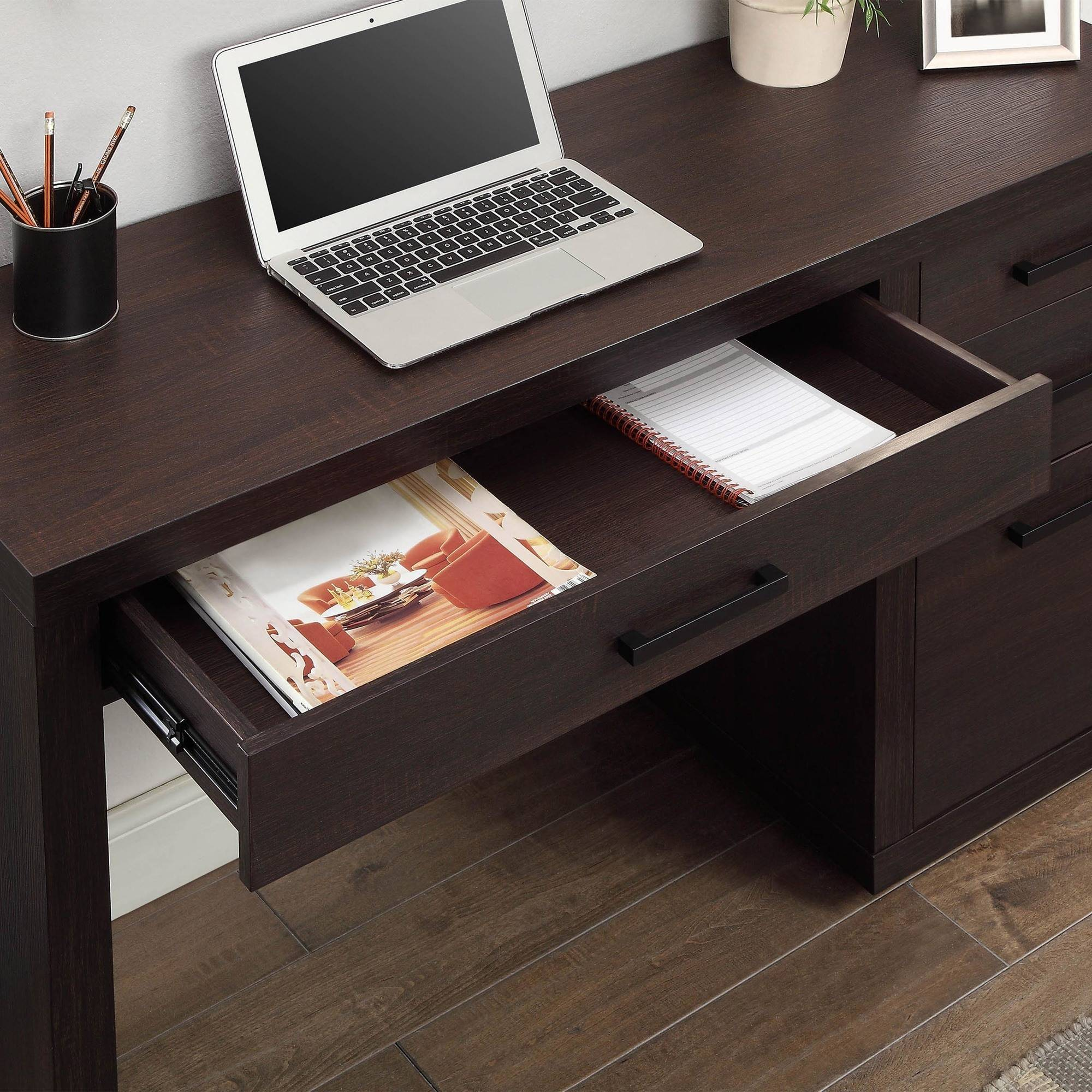 Better Homes U0026 Gardens Steele Writing Desk, Espresso Finish   Walmart.com