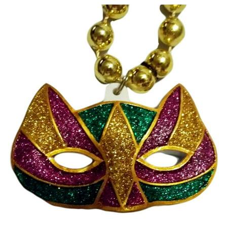 Cat Mask Mardi Gras Beads Party Favor - Mardi Gras Cat Mask