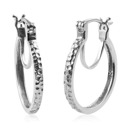 Silver Plated Hook (925 Sterling Silver Platinum Plated Hoops, Hoop Earrings for Women Hypoallergenic Gift Jewelry)