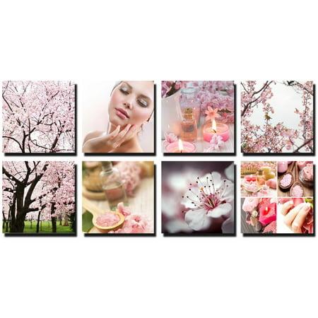 BLOSSOM 8 Pc Beauty Salon Spa Massage Decoration 24 x 24 Canvas Mural CM-PCB - Salon Decorations