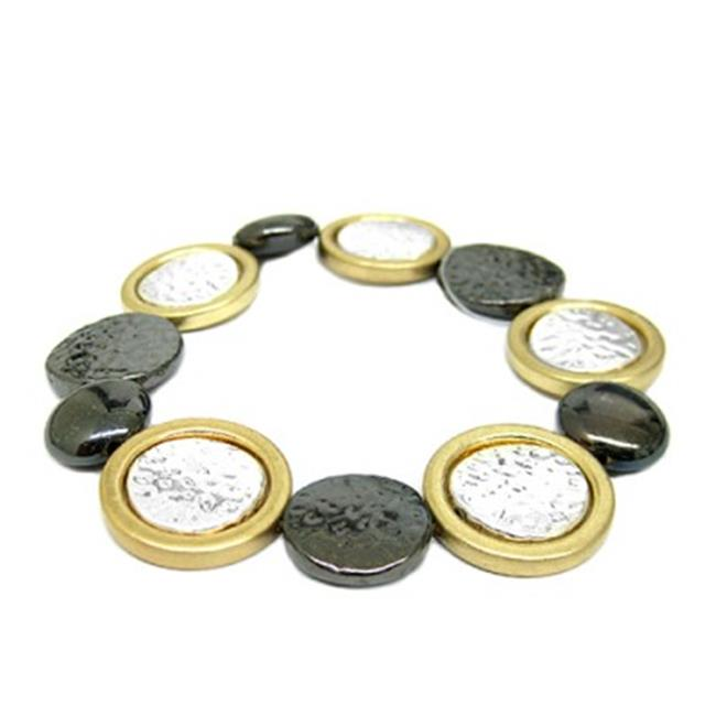 C Jewelry 3 Tone Hammered Metal Disc Bead Stretch Bracelet