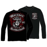 US Marines Biker With Rockers Foil Stamp Long Sleeve T-Shirt