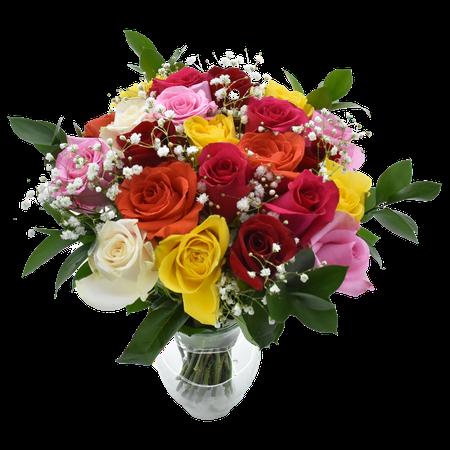 Valentine's Day Rainbow Rose Bouquet, Two Dozen, Vase Included