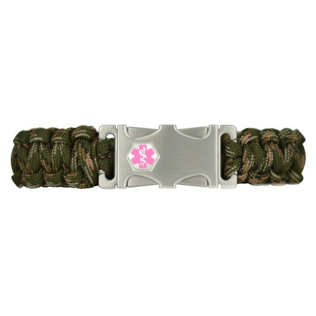 Divoti Custom Engraved 316L Stainless Paracord Medical ID - Dual-side Release ID Buckle -Camo