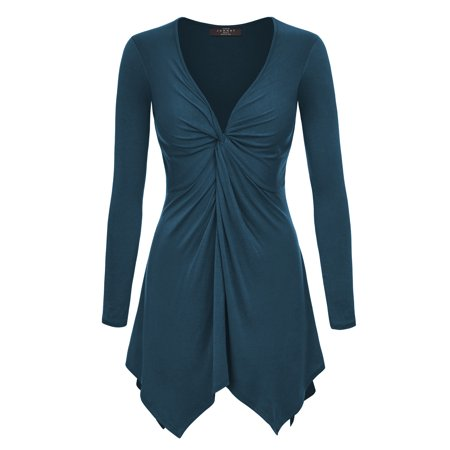 MBJ WT1182 Womens Long Sleeve Knot Baby Doll Tunic Top XXL TEAL
