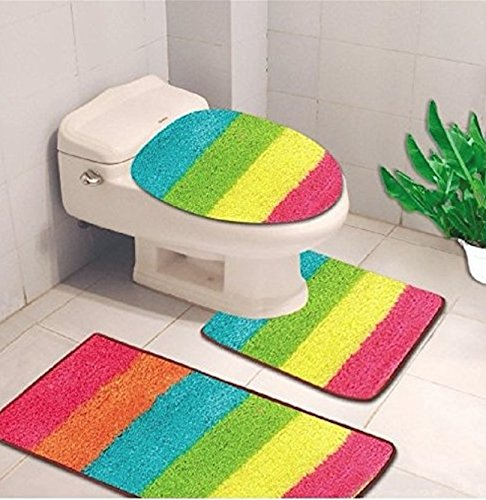 3-Piece Hailey Solid Bathroom Set Bath Mat Contour Rug Toilet Lid Cover - Rainbow