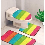 3 Piece Hailey Solid Bathroom Set Bath Mat Contour Rug Toilet Lid Cover Rainbow
