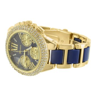 Lab Diamond Bezel Watch Female Geneva AP Style Gold Tone Blue Face Design