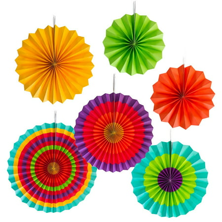 Fiest Colorful Paper Fans Round Wheel Disc Southwestern Pattern Design Party Decorations (Set of 6) by Super Z Outlet (Party City Disco)